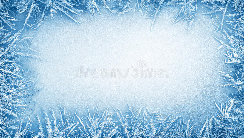 Ice frost frame. Winter background