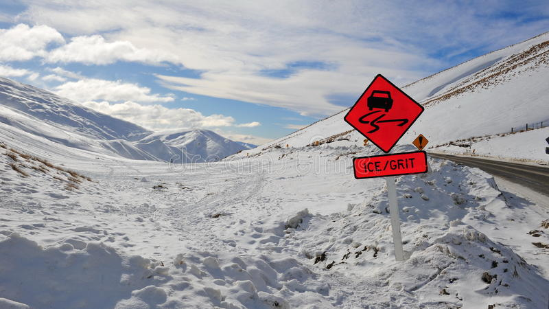 Download Ice and grit warning sign stock photo. Image of caution - 20837104