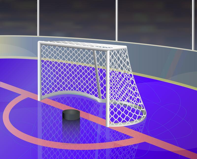 Ice hockey background with goal on ice rink. royalty free illustration