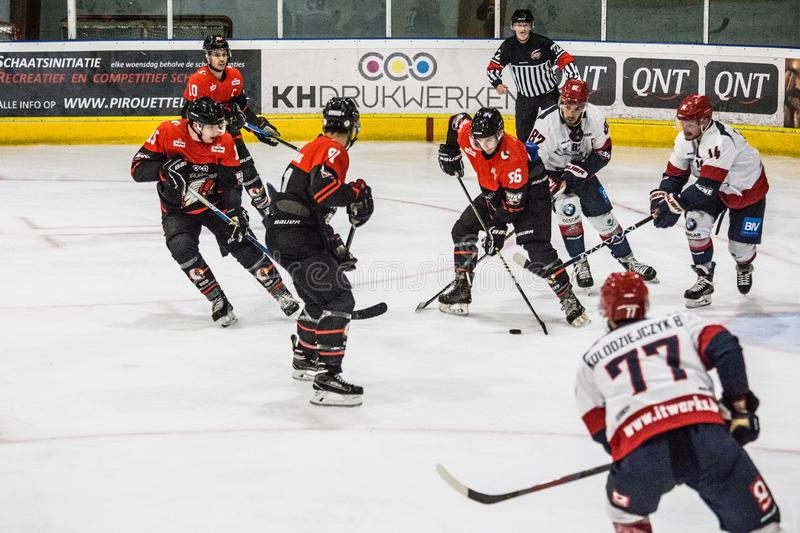 Ice hockey BeNe League. Leuven, October 7th 2019.  Ice hockey BeNe League Belgian Elite League:  Chiefs Leuven vs Liege Bulldogs. Liege Bulldogs win with a stock images