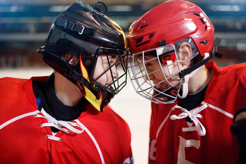 Ice Hockey - boys players. Ice Hockey - youth boys players stock images