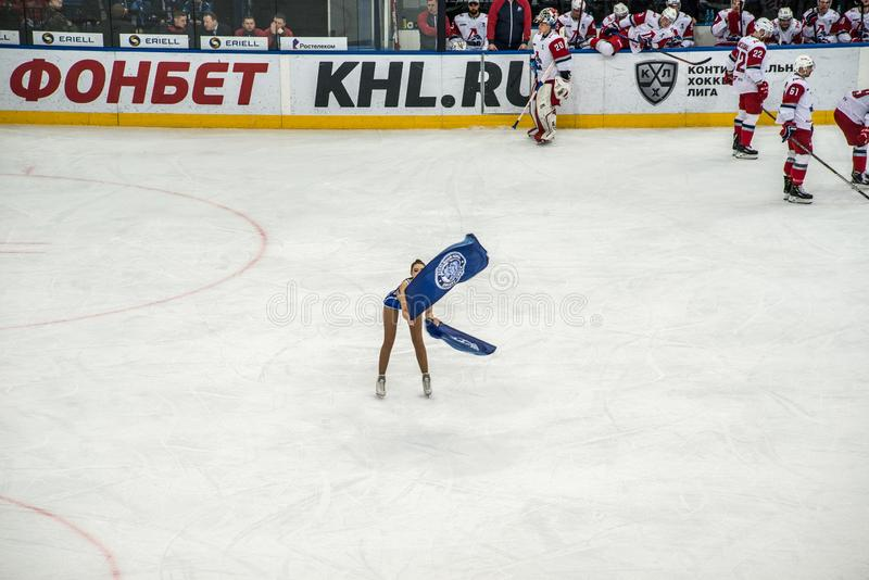 Ice hockey cheerleaders royalty free stock photos