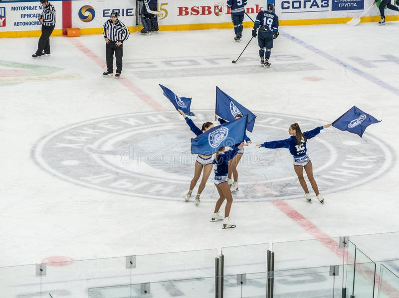 Ice hockey cheerleaders stock images