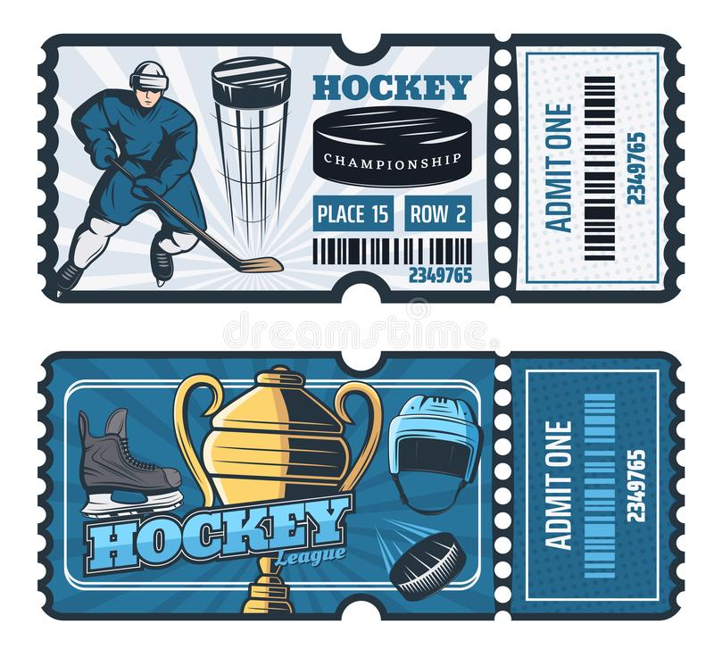 Ice hockey cup game tickets, vector. Ice hockey game tickets, sport cup tournament. Vector hockey player man with stick and puck for goal, trophy cup, safety stock illustration