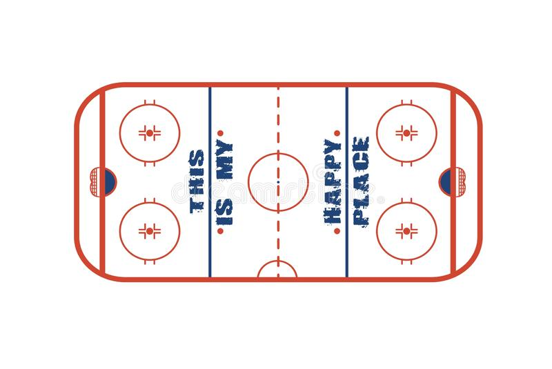 Ice hockey field vector design.This is my happy place. royalty free illustration
