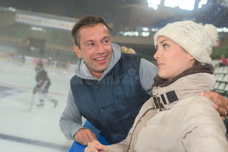 At ice hockey game. At the ice hockey game royalty free stock photos