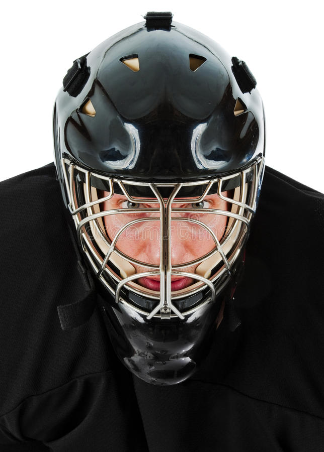 Ice hockey goalie. Portrait. Photo on white background royalty free stock images