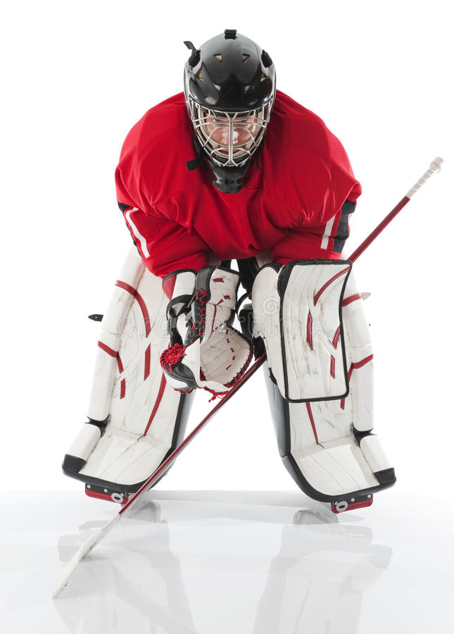 Ice hockey goalie. Photo on white background stock photography