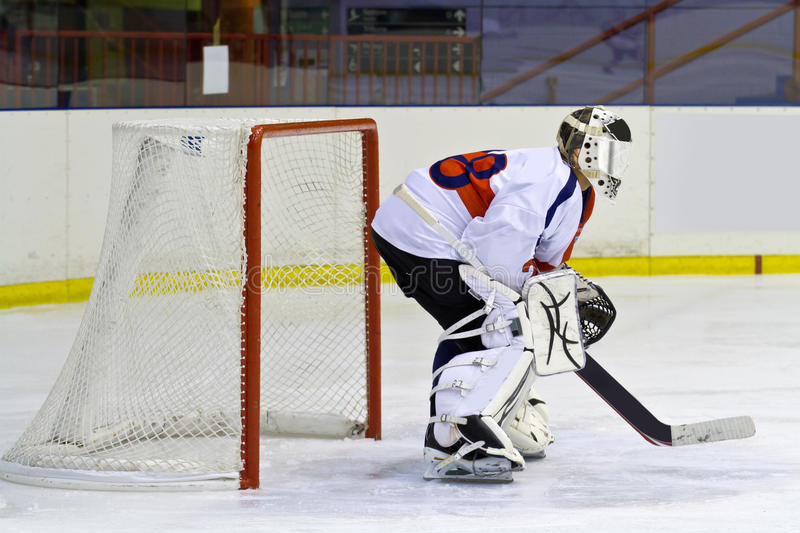 Ice hockey goalie. A hockey goalie on the ice royalty free stock photography