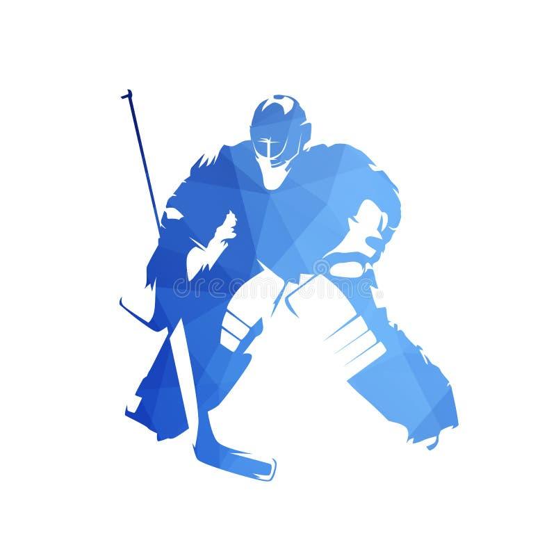 Ice hockey goalie, abstract blue geometric vector silhouette stock illustration