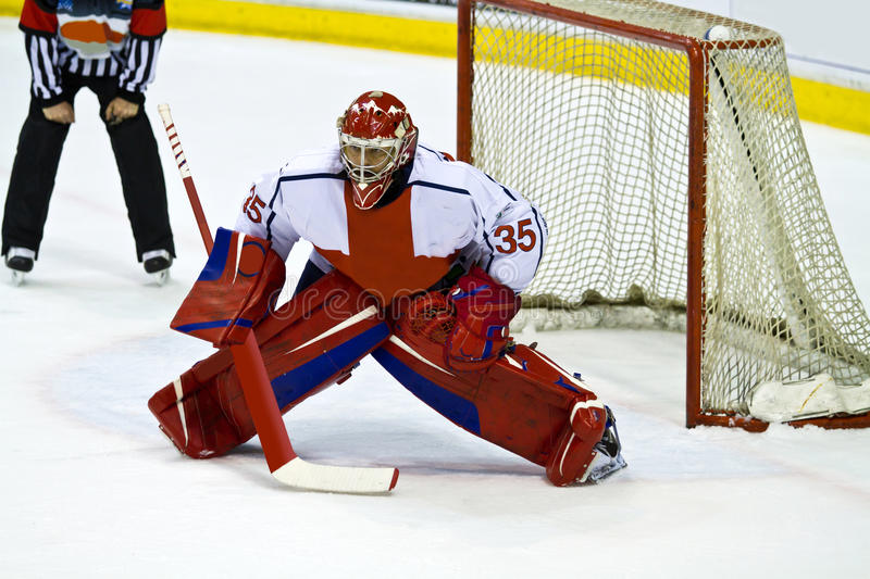 Hockey goalie. Ice hockey goalie defends a net stock photography
