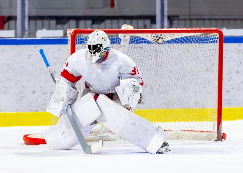 Ice hockey goalie during a game. Ice hockey goalie during a hockey game stock photos