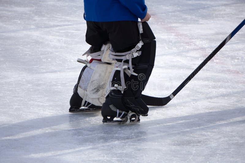 Ice Hockey Goalie shot slapshot start stick . Ice Hockey Goalie shot slapshot start stick stock image