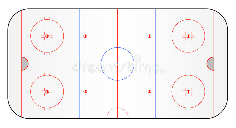 Ice hockey ground. A stylized ice hockey ground showing all relevant lines. All on white background stock illustration