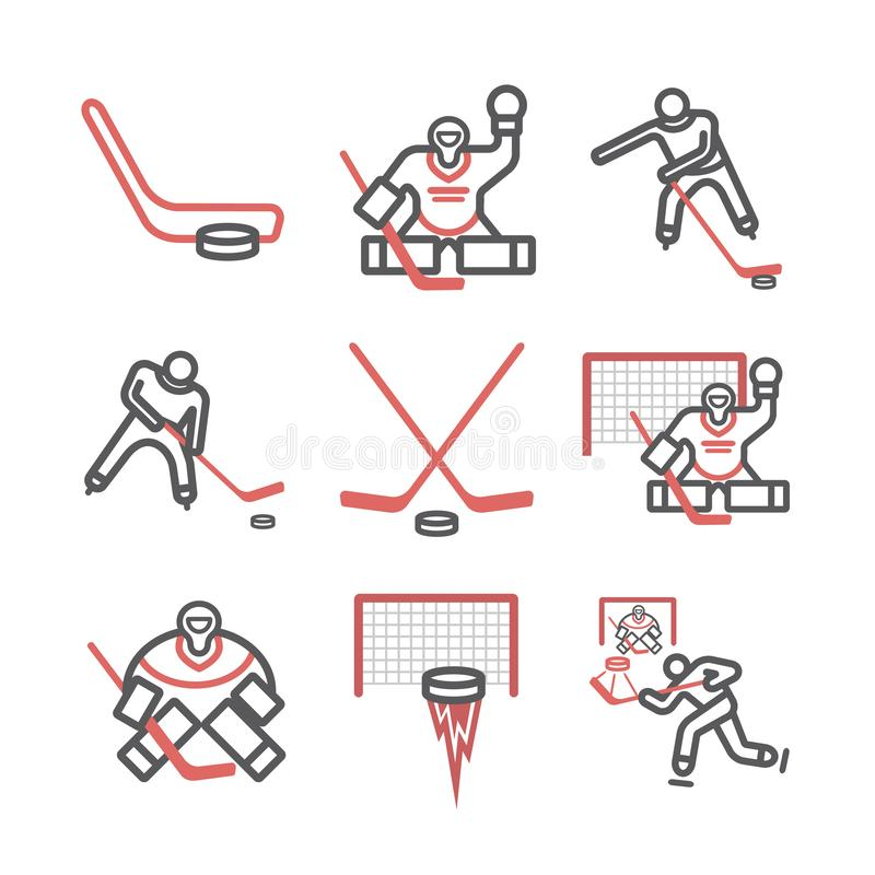 Ice hockey line icons. Vector signs for web graphics. stock photo