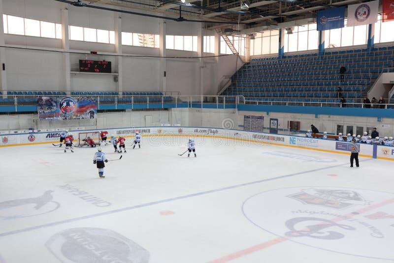 Ice hockey match Bobrov vs Piter stock image