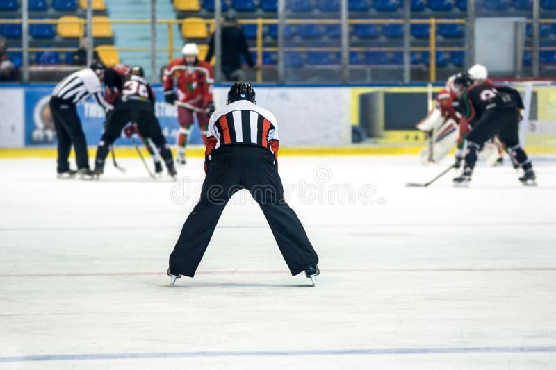 Ice hockey match. Rear view on referee controls the hockey game stock photos