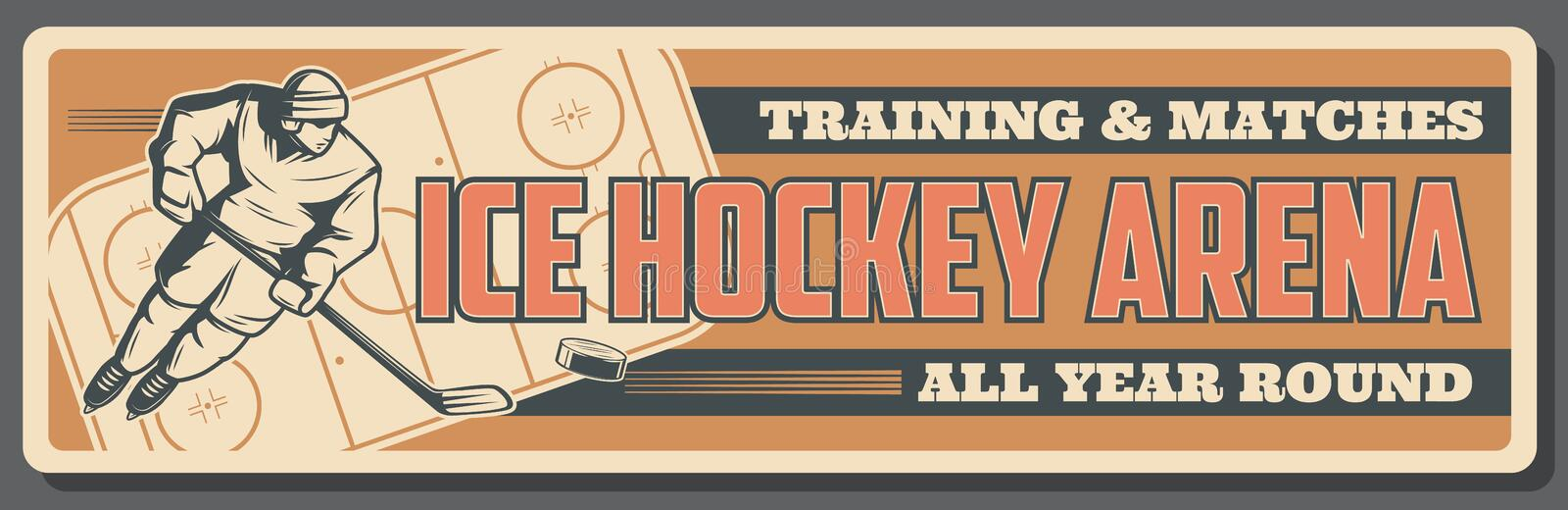 Ice hockey matches and training sport arena stock illustration