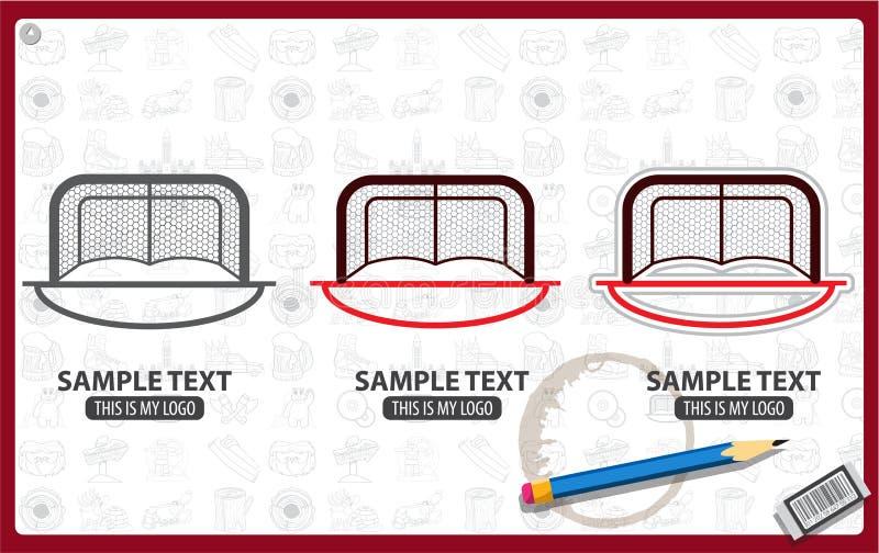 Ice hockey net gate. Logo, vector red hockey goal, gates for the game of hockey royalty free illustration