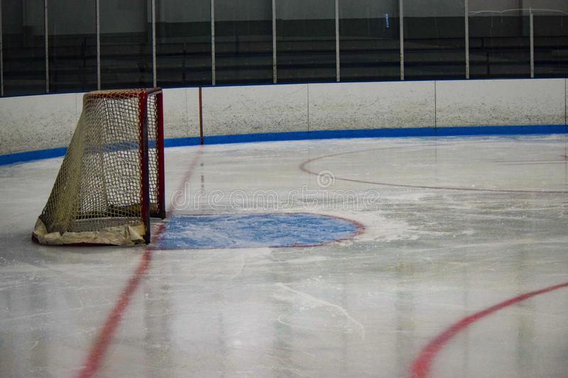 Ice Hockey net just before a game stock image