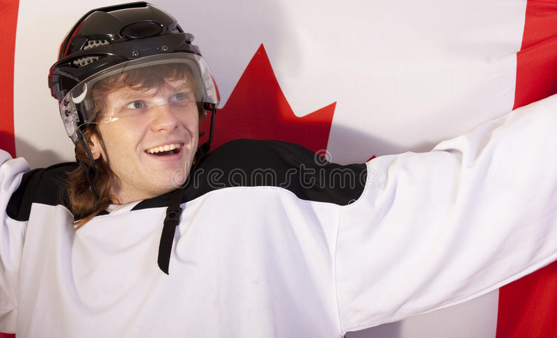 Download Ice Hockey Player With Canadian Flag Stock Images - Image: 12220014