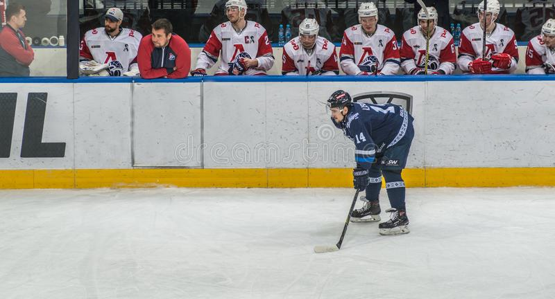 Ice hockey player in front of bench royalty free stock image