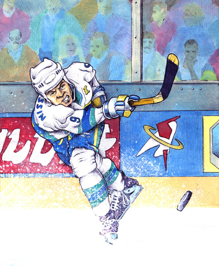 Ice hockey 2008. A hockey player making a slapshot Hand made illustration Mixed technique: watercolor and pen on hard paper, partially scratched with razorblade