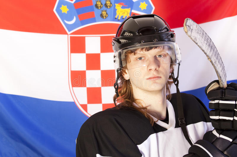 Download Ice Hockey Player Over Croatian Flag Stock Image - Image: 12220073