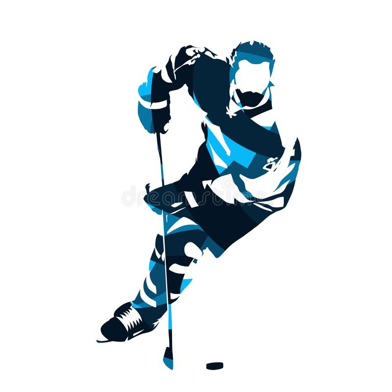 Free Ice Hockey Player Skating With Puck, Abstract Blue Vector Silhouette Royalty Free Stock Image - 102948776