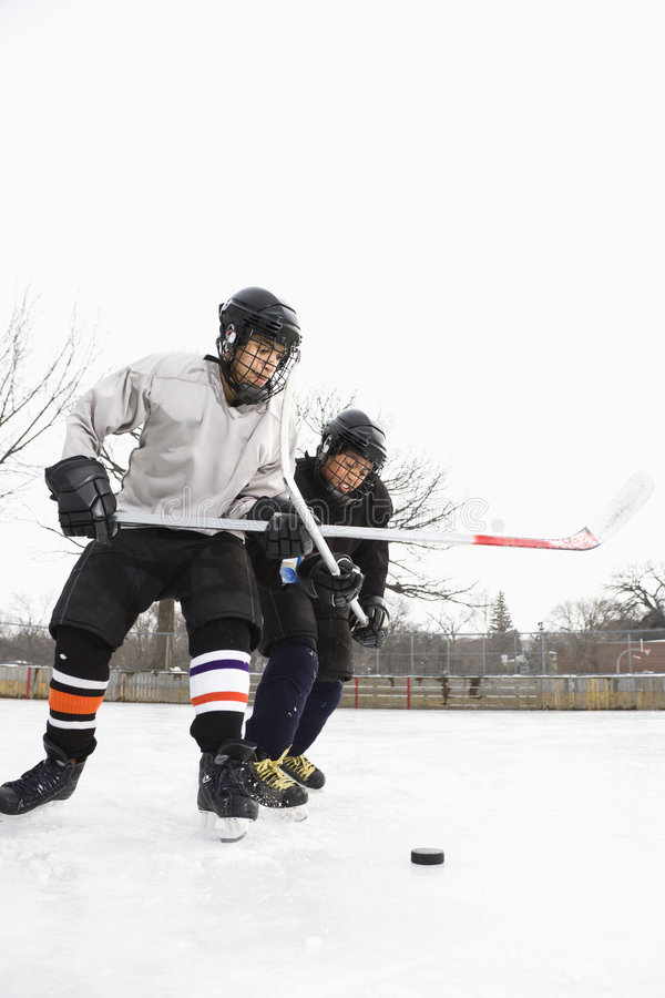 Ice hockey players. stock images