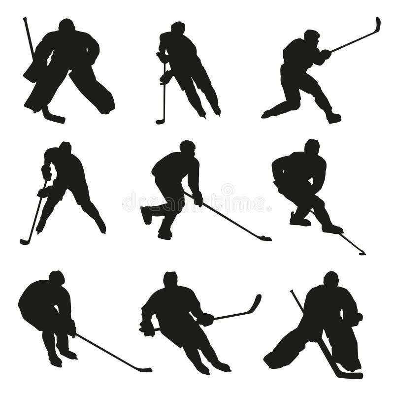 Ice hockey players silhouettes stock illustration