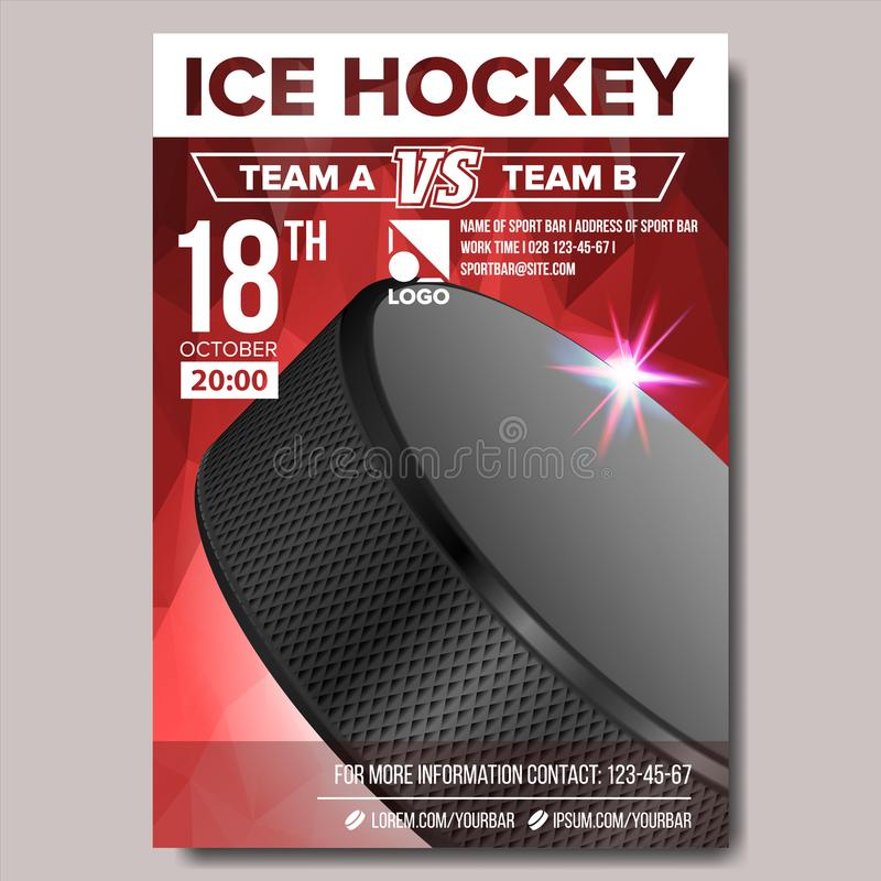 Ice Hockey Poster Vector. Sport Event Announcement. Vertical Banner Advertising. Professional League. Event Label. Ice Hockey Poster Vector. Banner Advertising vector illustration