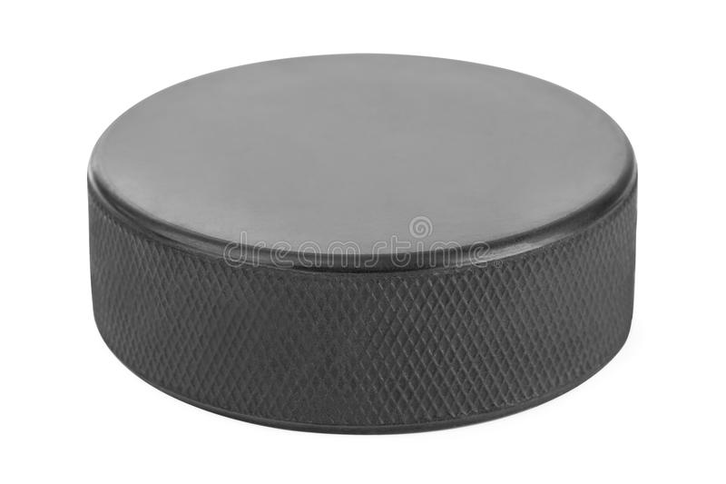 Ice hockey puck. Isolated on white background stock photo