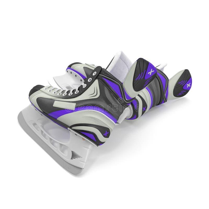 Ice hockey skates, on white. 3D illustration. Ice hockey skates, on white background. 3D illustration stock photo
