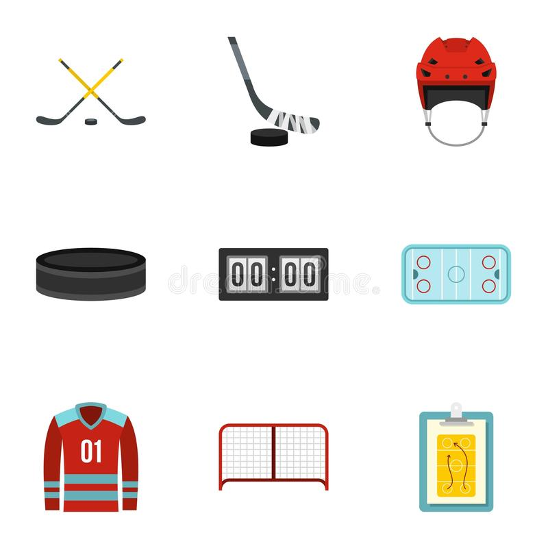 Ice hockey sport icons set, flat style royalty free illustration