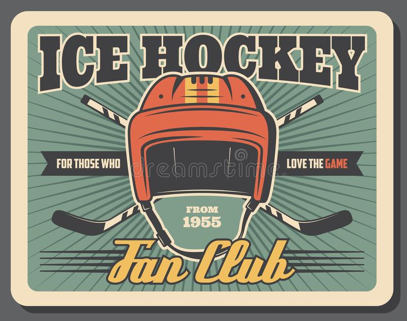 Ice hockey sport player sticks and goalie helmet royalty free illustration