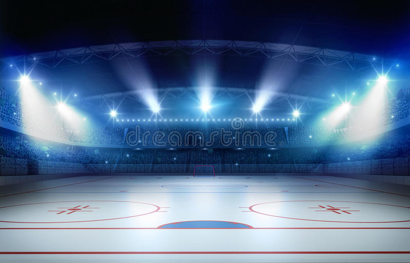 Ice hockey stadium 3d rendering stock illustration
