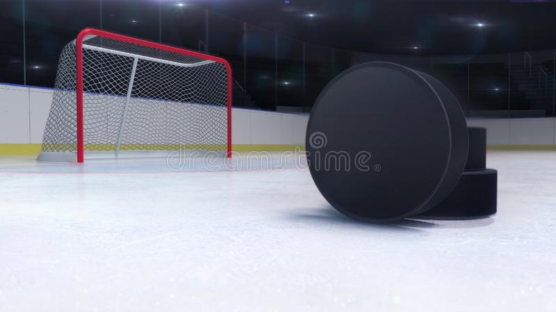 Ice hockey stadium and goal gate with puck front and camera flash behind royalty free illustration