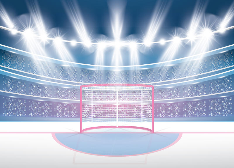 Ice Hockey Stadium with Spotlights and Red Goal. royalty free illustration