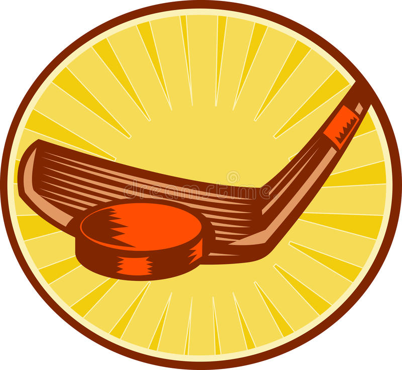 Download Ice Hockey Stick And Puck Retro Style Stock Illustration - Image: 22407321