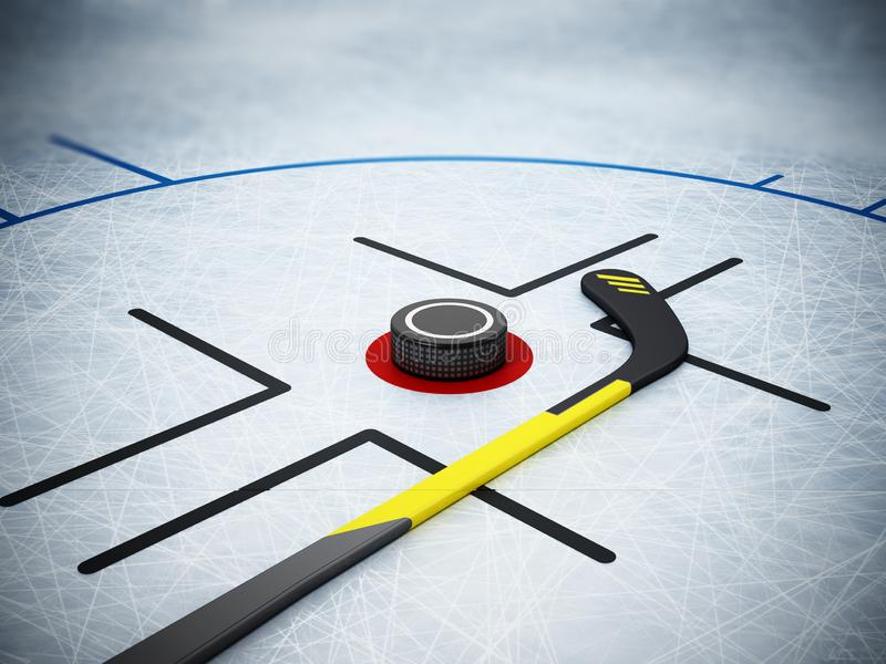 Ice hockey stick and puck on scratched ice background. 3D illustration royalty free illustration