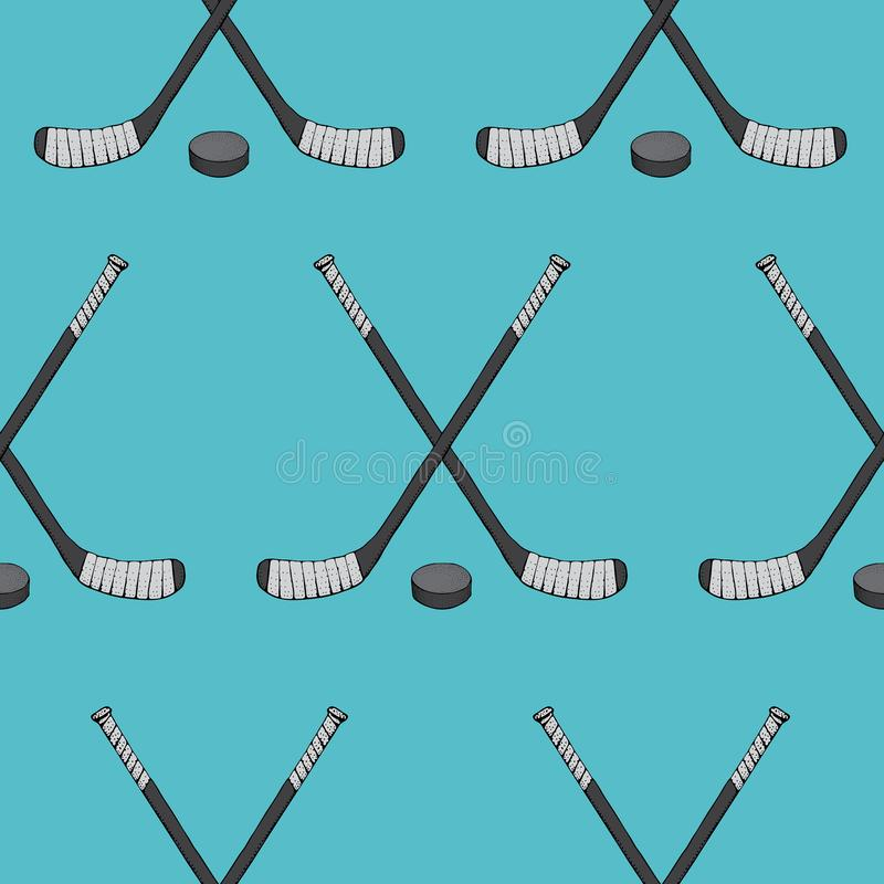 Ice Hockey stick with puck seamless pattern. Sports Vector illustration isolated on blue background. Ice hockey sports vector illustration