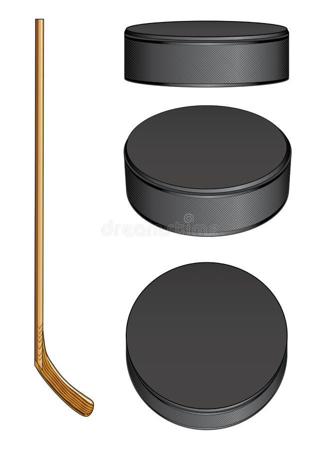 Ice Hockey Stick and Pucks stock illustration