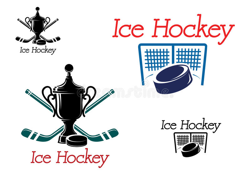 Ice hockey team emblems. Green and black colored ice hockey team emblems with puck, sticks, award, net and gate for sport design stock illustration