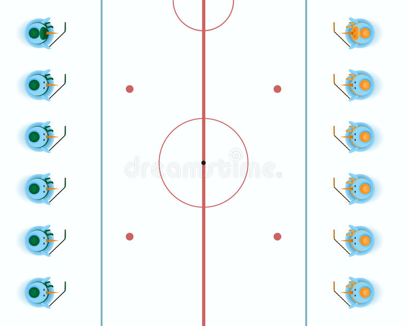Ice-hockey team of snowmen stock photography
