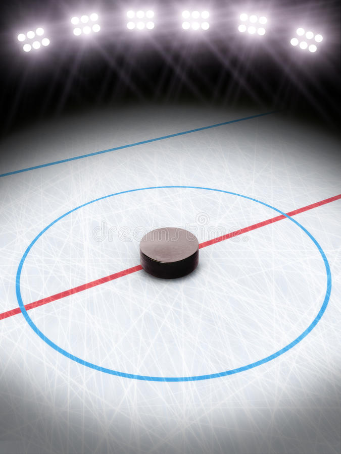 Ice hockey under the lights. Room for text or copy space stock illustration