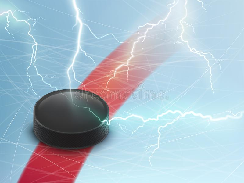 Ice hockey vector banner with puck and lightnings stock illustration