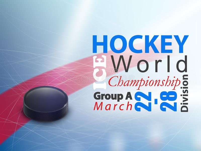 Ice hockey world championship vector banner. Ice hockey world championship vector horizontal banner. Winter team game on skating rink with black rubber puck and royalty free illustration