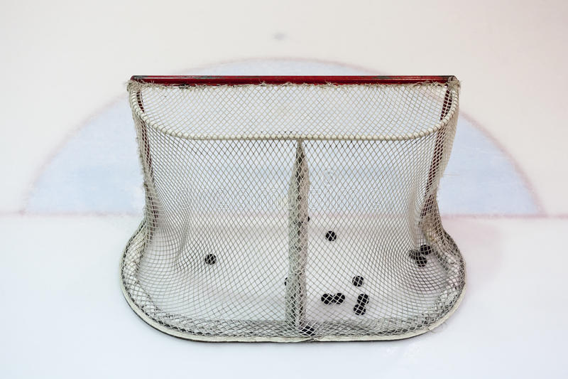 Download Ice Hokey Net Filled With Pucks Stock Image - Image of goalie, competition: 16983783