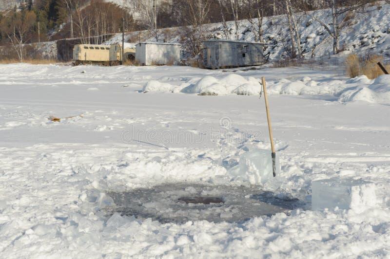 Ice hole. On the baikal lake royalty free stock images